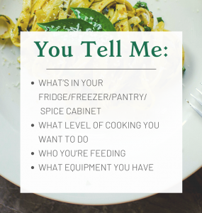 You Tell Me: Whats in your fridge/freezer/pantry/spice cabinet, what level of cooking you want to do, who you are feeding, what equipment you have
