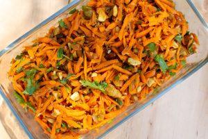 Carrot Salad in Rectangular Glass Dish