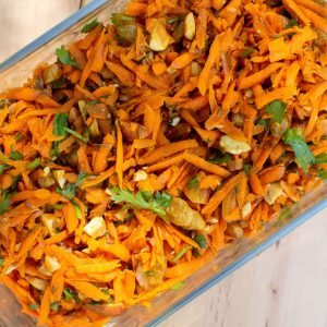 Carrot Salad in Rectangular Glass Dish