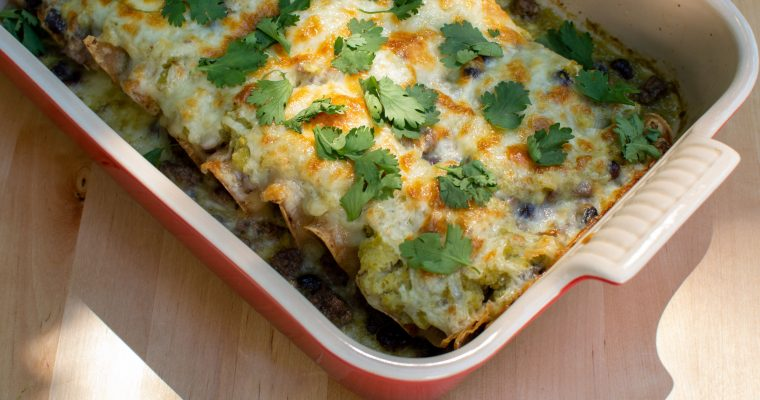 Ground Beef and Black Bean Green Chile Enchiladas