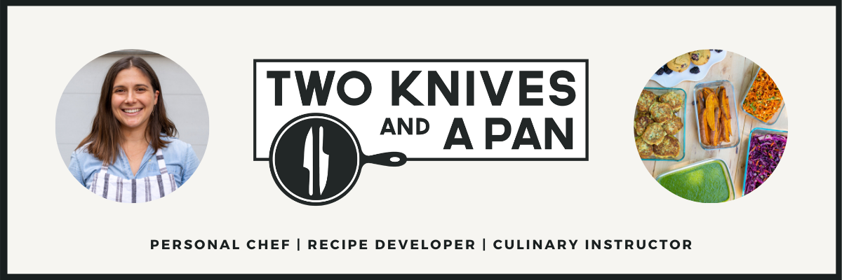 Two Knives and a Pan Logo with photo of Sarah and photo of prepped meals