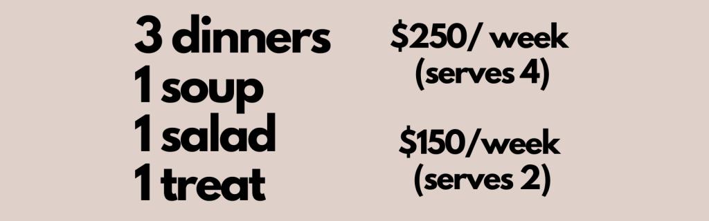 3 Dinners 1 Soup 1 Salad 1 Treat, $250/week (serves 4), $250/week (serves 2)