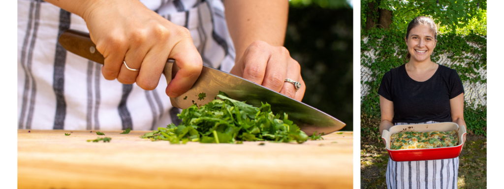 Close up of Sarah chopping herbs and image of Sarah holding pan of beef enchiladas. Boston Area Meal Delivery Service.